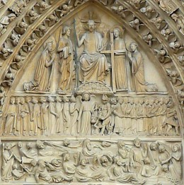 The Last Judgement depicted in the tympanum of the main portal of Notre Dame cathedral in Paris, France