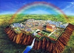 Artist concept of the New Jerusalem, an actual city where Jesus will reign upon this earth.