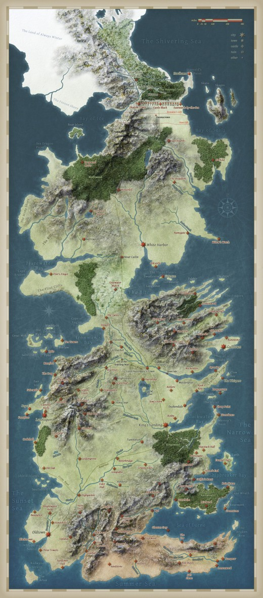 Map of the fictional continent of Westeros, where most of the action takes place.