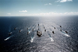 This is a historic battleship naval support group that was used prior to the advent of the aircraft carrier. Study the variety of ships in the battle group. Only one is a battleship.