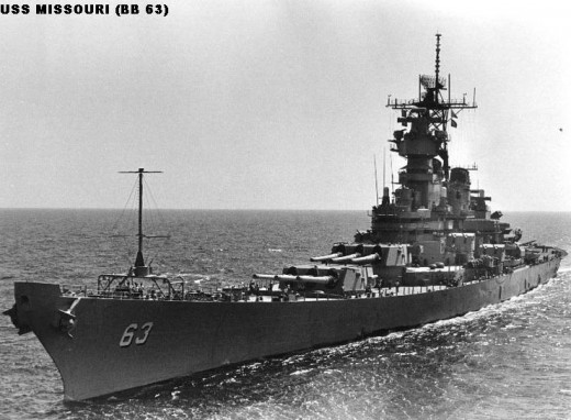 Compare the USS Missouri with the photo of the Dreadnaught. This battleships was built following the dreadnaught design.