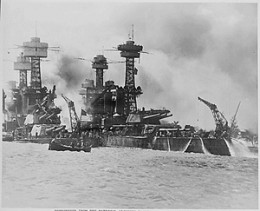 Just before the attack, someone took a photo of the dreadnayght class battleships at Pearl Harbor.