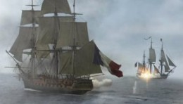 Two ships, doing battle stuff - can't you just hear the drums and the screaming violins?