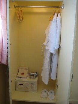 Small closet but high enough to hang your clothes.