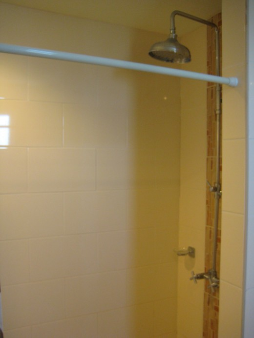 You can't see it on this photo but the bathroom is a decent size with a rain style shower head.