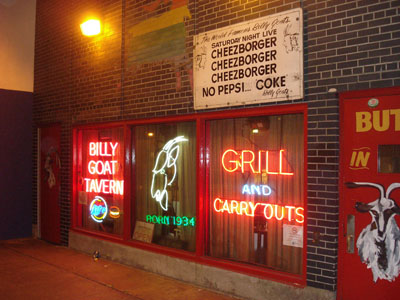 The original Billy Goat Tavern located beneath the city streets.