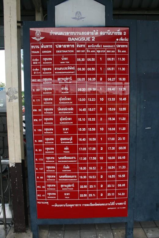 Timetable at Bang Sue
