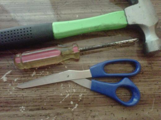 Tools: Rod Hammer Screwdriver Scissors