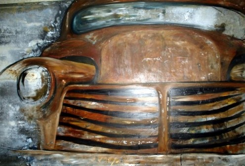 "Acrylic on sheet metal of old truck 4'x6'. ""More or less I find useless junk my dad has in or around his shop, or anywhere I come across something about to become garbage, and paint on it,"" Nikki said."