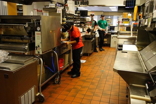 Food prep workers often work in fast food kitchens.