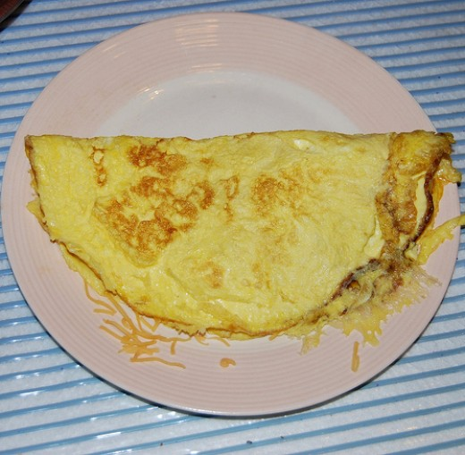 A cheese omelet. Omelet: another French-derived word! Although, it's not spelled or pronounced quite the same in English.