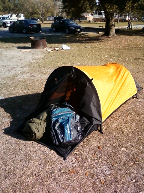 One-man tent, set up. There's just enough room for me and a small backpack.