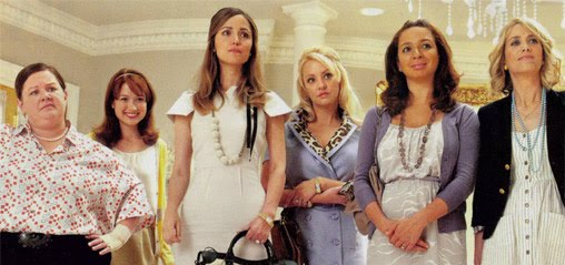 Melissa McCarthy, Ellie Kemper, Rose Byrne, Wendy McLendon-Covey, Maya Rudolph and Kristen Wiig in Bridesmaids.