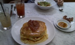A Hound Dog, Bloody Mary (pickle already consumed), buttermilk pancakes, bacon, and chile-marinated shrimp