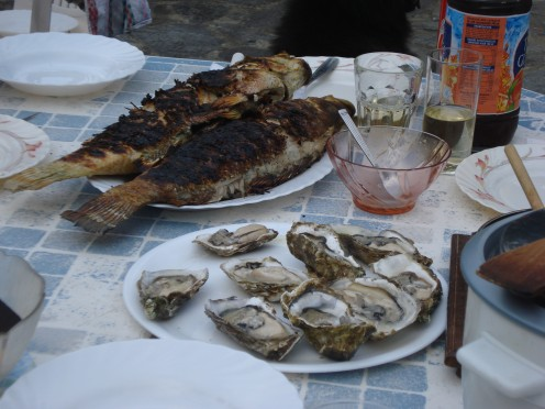oyster & fish in Corsica, France