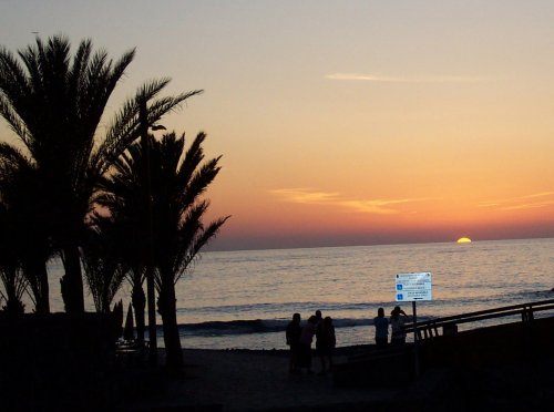 Las Americas beach at sunset