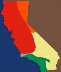 IN GREEN: shows the Range of the Southern Pacific Rattler in California.