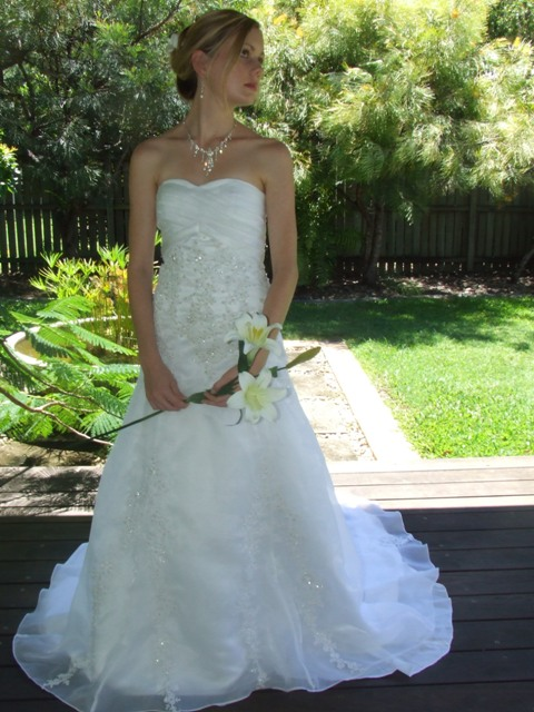 A-Line Dresses are similar to Ball Gowns, but not quite as flared below the waist.