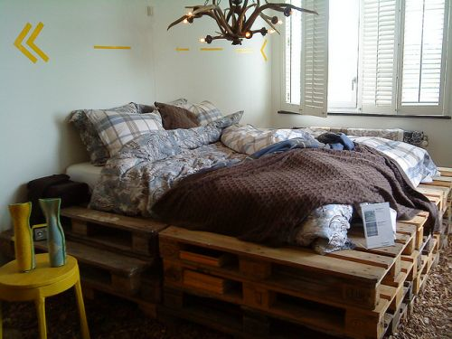Crates used as a bed base