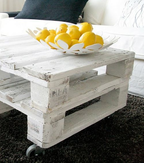 Crates used as a coffee table