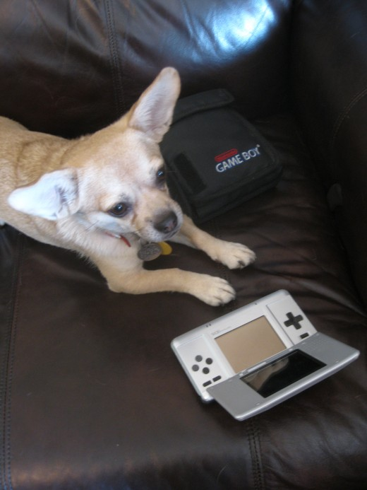 Relaxing with a portable electronic game system