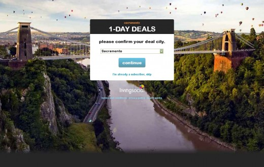 Pick a city, but not any city. LivingSocial will provide daily deals.