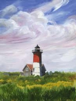 Painting of the beautiful Nauset Beach Lighthouse