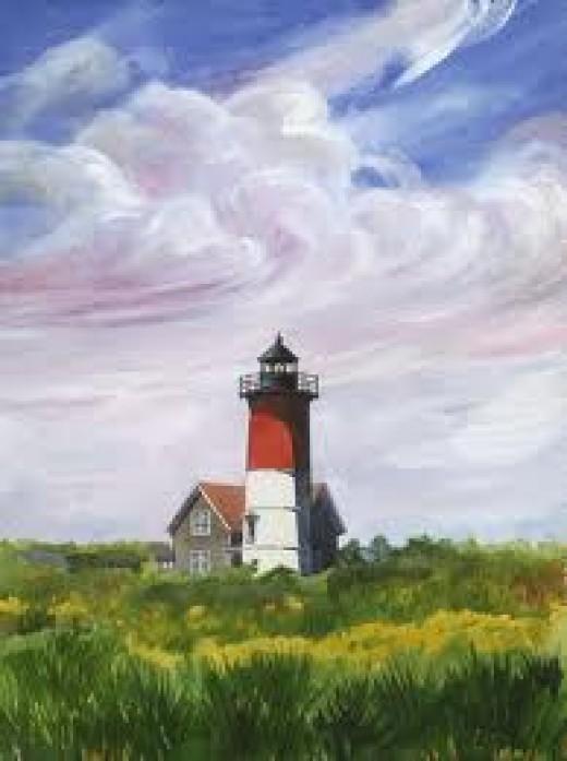 Painting of the beautiful Nauset Beach Lighthouse