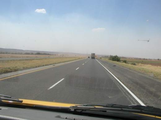 The road ahead...also in this picture:  smoke from the fires burning in Arizona