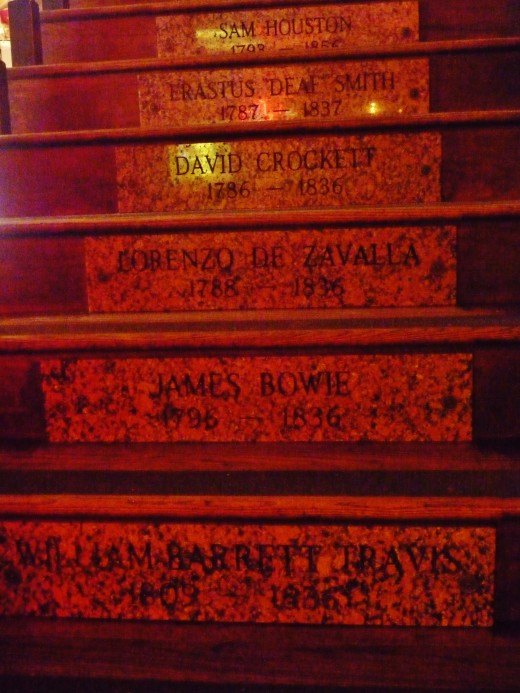 Close-up photo of a few of the steps leading upstairs at Goode Co. Barbecue.