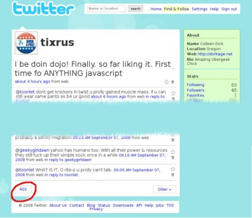 get RSS from twitter home