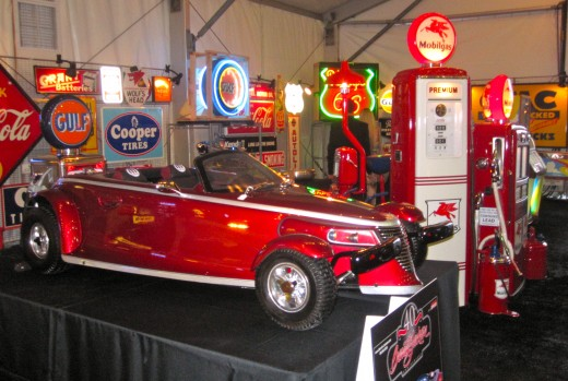 Auto themed memorabilia for auction at the Barrett-Jackson Auto Auction in Orange County, CA.