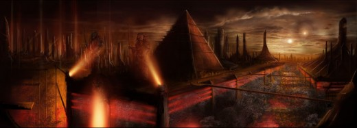 An artists view of the home of the mighty Yautja!