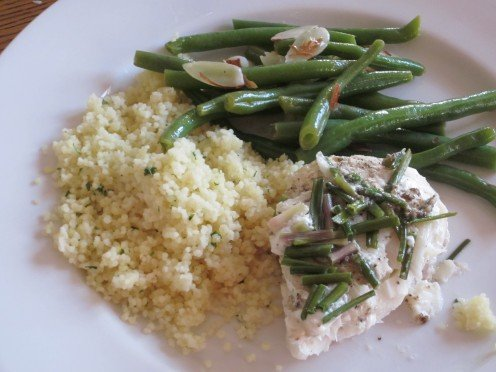 Green Beans with Almonds. Served with Steamed Cod and Couscous.