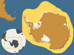 Range of movement of Emperor penguins is light brown