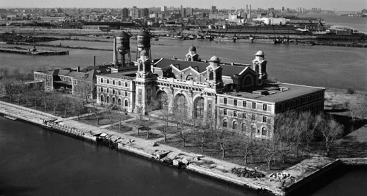 Ellis Island immigration intake building.