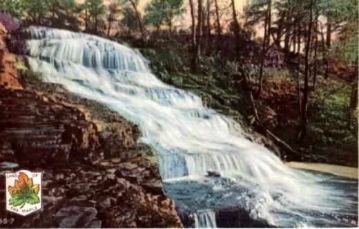 1928 Postcard calling this Tiffany Falls. Now it is called Stephanie Falls.