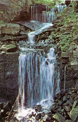 Vintage Postcard calling this Mill Stream Waterfall. Now it is called Upper Mill Falls.