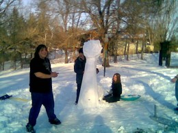 Is that a snowman? It's a snow-something, at least. Gotta love boredom at the city park.  Joe, James and Miranda (Cambridge, MN)