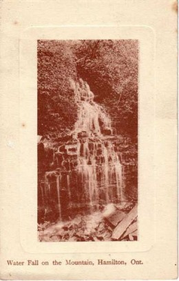 1908 Postcard calling this Water Fall on the Mountain. Now it is called Mountview Falls.