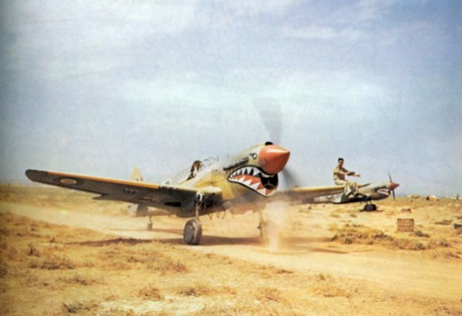 P-40 Kittyhawk with shark mouth insignia. Armed with six 50. caliber machine guns, it was these Allied fighters that equipped the Desert Air Force (DAF)