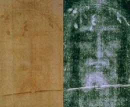The Turin Shroud : modern photo of the face, positive left, negative right. Negative has been contrast enhanced.