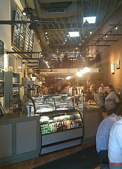 The lofted seating area inside Crema Cafe is one of its selling points. Extra seating in Harvard Square is always a plus!