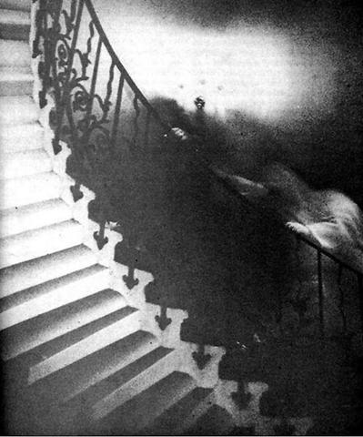 Monk on Staircase- one of the most famous spirit photograph of all time, taken at the Edinburgh Castle