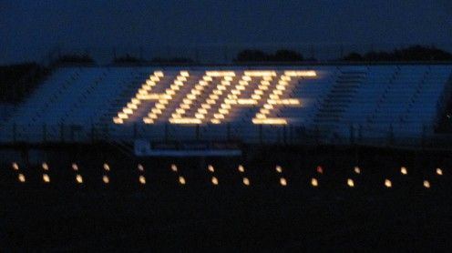 "Luminaries spelled out, ""HOPE"" as night fell"