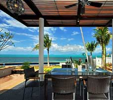 Dining by the beach at a private villa on Koh Samui, Thailand