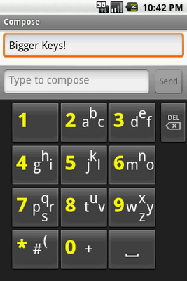 SlideType Keyboard, number to left button layout, notice lack of accents, dictionary word prediction, or microphone button