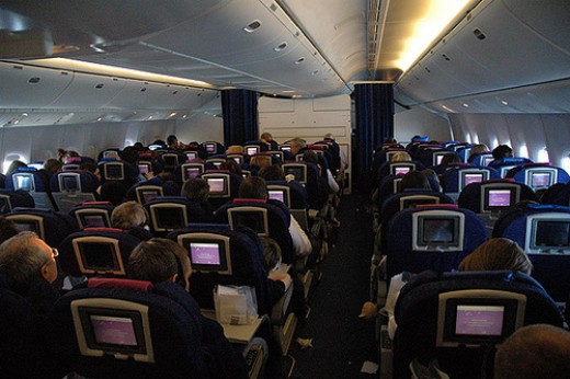 Typical 3-3-3 configuration in airline economy class.