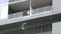 Falling glass from W hotel of Austin.