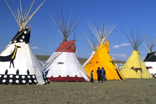 Picture of teepees lined up during the Siksika Pow Wow held in Alberta, Canada